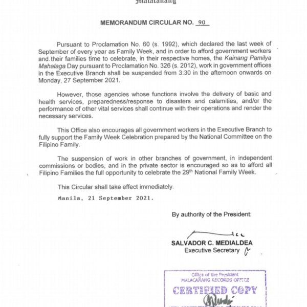 #WalangPasok – Shortened work day in gov't offices on September 27 2021