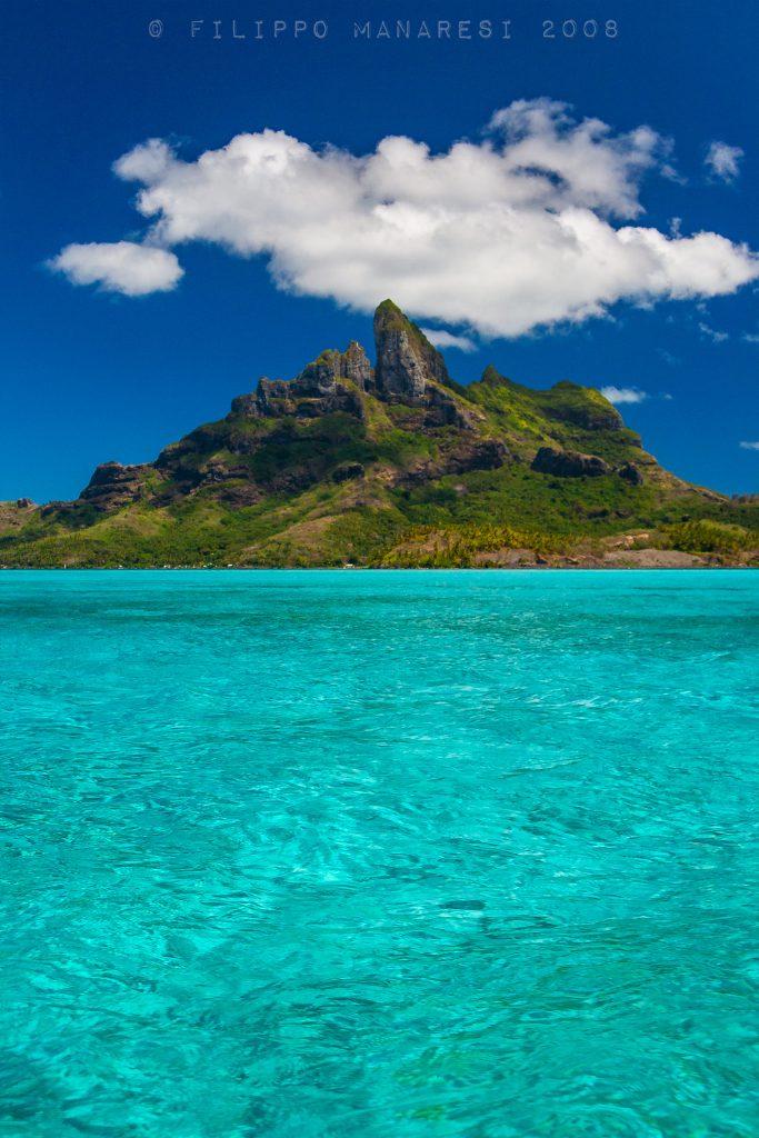 Bora Bora, French Polynesia, Pacific Ocean, tropical island, clear water, peak, cloud