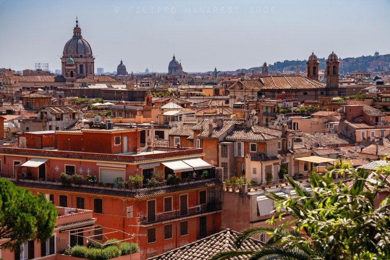 Roma, Rome, sunny day, Pincio, town, Italy, Pincian Hill, rooftops, roofs, church, cupola, bell tower