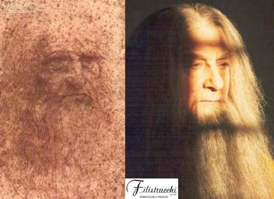 l'immagine mette a confronto l'autoritratto di Leonardo da Vinci con una lavoro di Filistrucchi che ricrea l'iconognafia di Leonardo