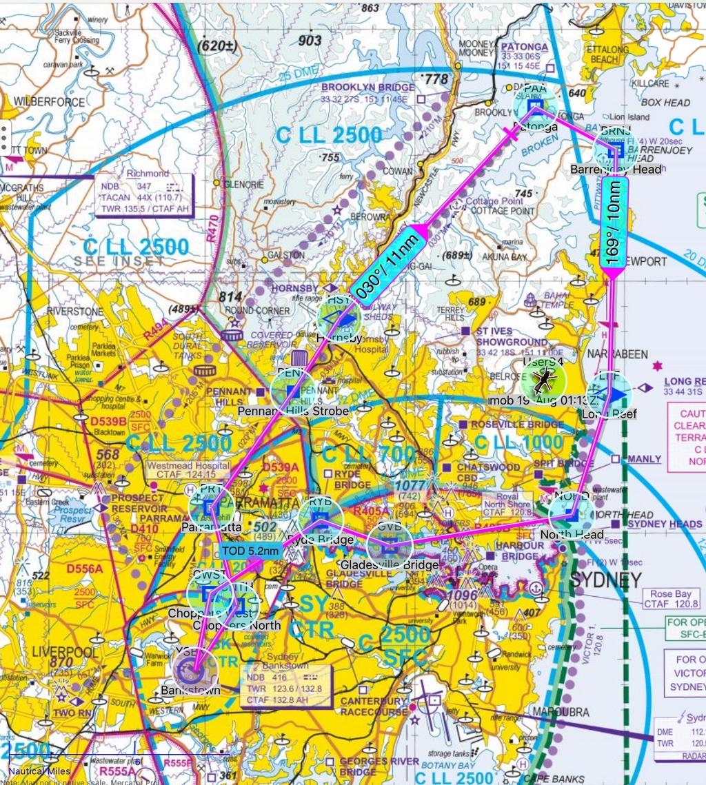 Ozrunways map of Sydney Helicopter Flight