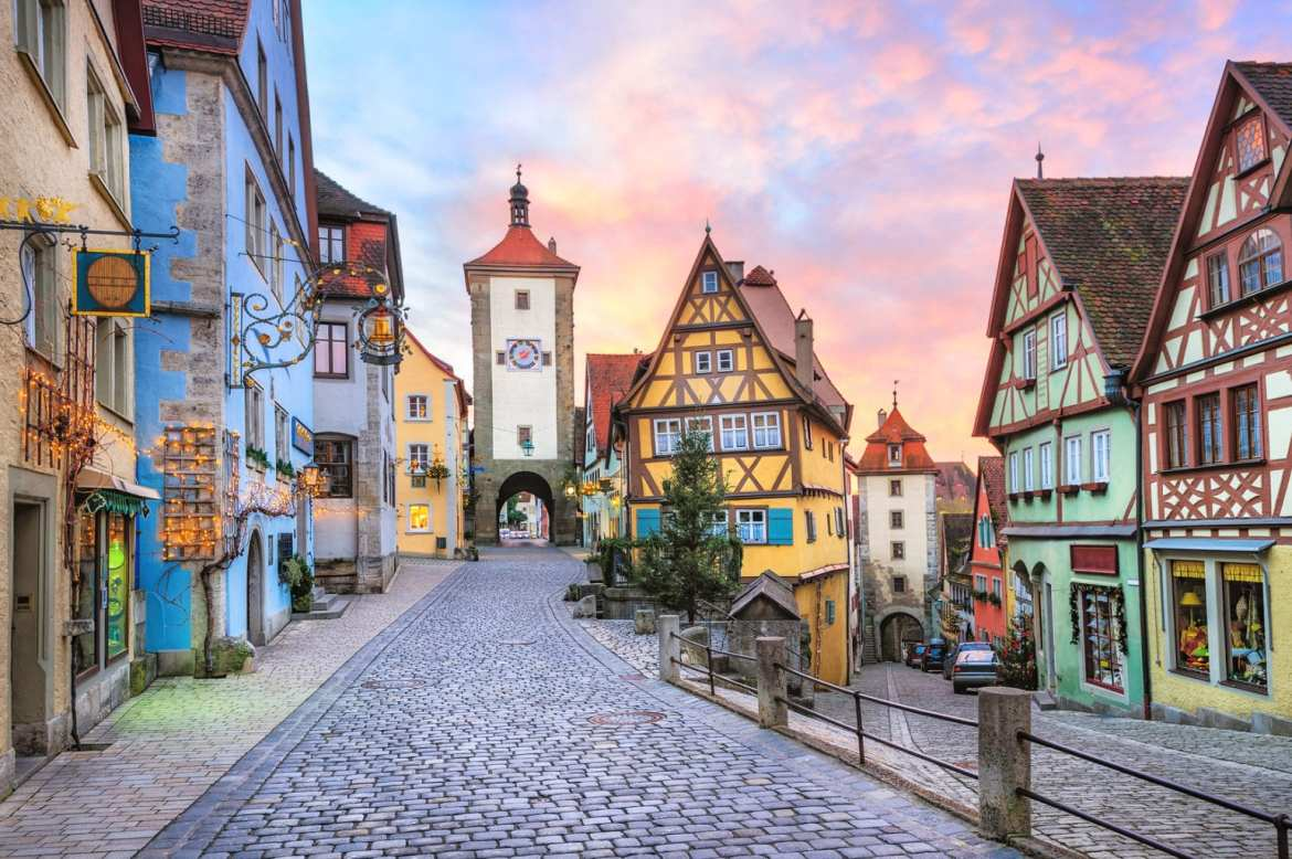 Colorful half-timbered houses in Rothenburg ob der Tauber, Germa