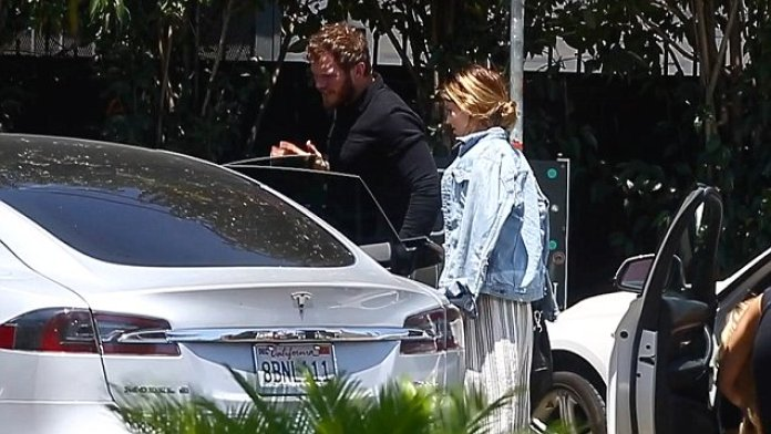 Chris Pratt, & Katherine Schwarzenegger, Couple, Spotted, Leaving, Church Together, in Los Angles