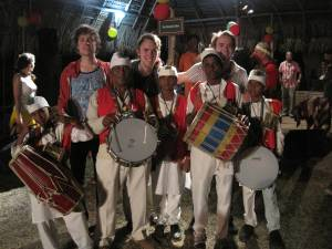 With Indian tassa drummers