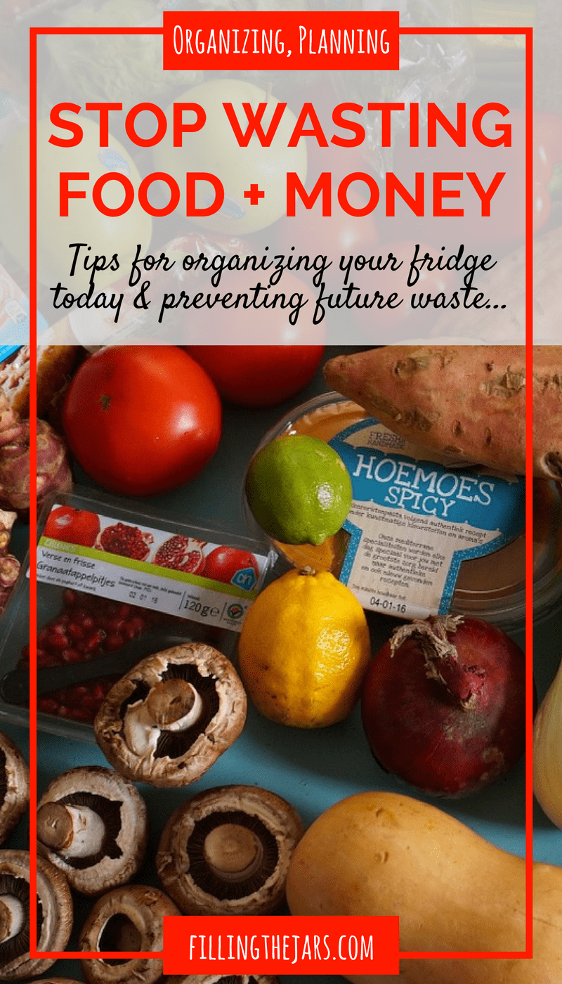 Organize Your Refrigerator Today - Stop Wasting Food AND Money | Do you feel like you throw away half the food in your refrigerator every week? Read these tips for decluttering and organizing your fridge. Then learn how to make a plan to stop wasting all that food and money... | www.fillingthejars.com