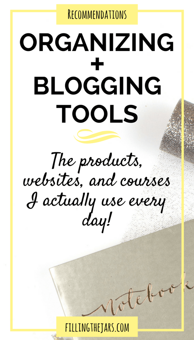 All of my favorite organizing + blogging resources in one place. Products, websites, and courses to help you live and blog better. | www.fillingthejars.com