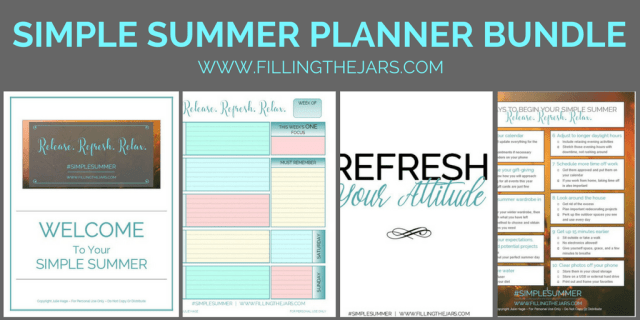 The Simple Summer planner bundle: Create your best summer ever -- printable planner and journal pages, printable checklists, motivational printables. Details here...