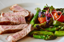dry aged beef and veggies