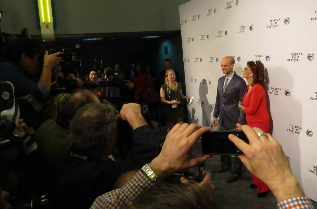 "Edoardo Ponti and Sophia Loren at Tribeca Film Festival for the ""Human Voice."""