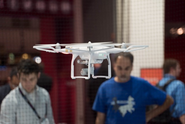 DJI UAV in flight at NAB 2015