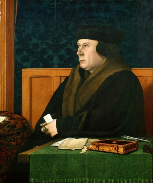 Thomas Cromwell, Earl of Essex. By Hans Holbein the Younger.  Oil on oak panel. 1532-1533. 78.4 × 64.5 cm. Frick Collection, NY. (other version in the National Portrait Gallery, UK)