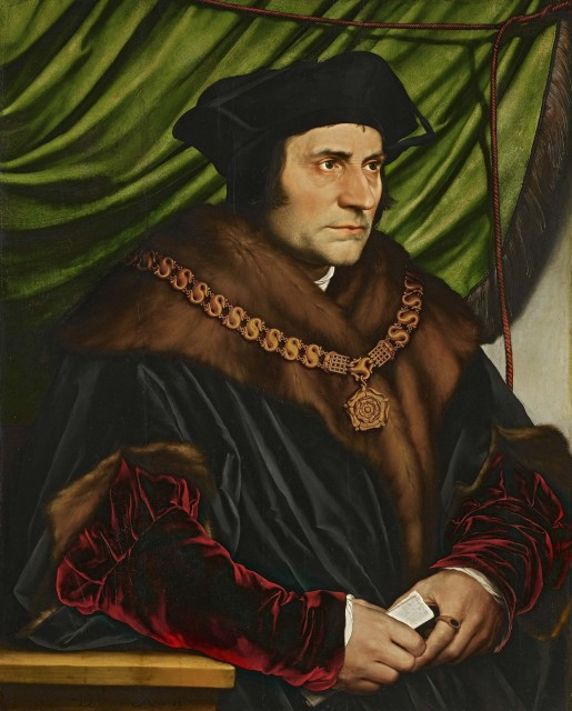 Sir Thomas More. By Hans Holbein the Younger. 1527 Oil on oak. 74.2 × 59 cm (29.2 × 23 in) Frick Collection, New York
