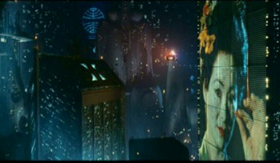Geisha Girl billboard in Blade Runner. Image courtesy of Ladd Company/The Shaw Brothers/Warner Bros.