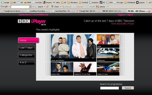 BBC iPlayer 1 - Home Page