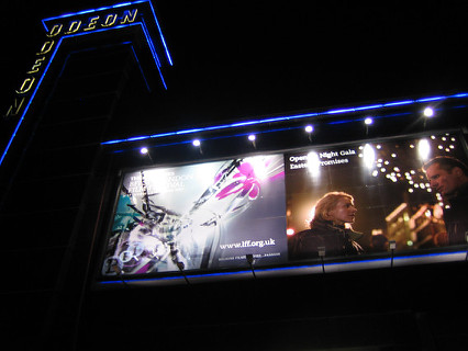 Outside the Odeon Leicester Square on opening night