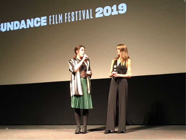 Director Sacha Polak & Actress Vicky Knight during the Q&A after the world premiere screening of DIRTY GOD - Sundance 2019