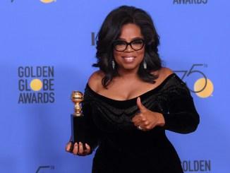 Mandatory Credit: Photo by David Fisher/REX/Shutterstock (9307692ex) Oprah Winfrey - Cecil B. DeMille Award 75th Annual Golden Globe Awards, Press Room, Los Angeles, USA - 07 Jan 2018