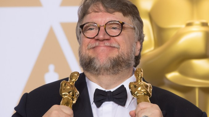 "Guillermo del Toro  pose backstage with the Oscar® for best motion picture for work on ""The Shape of Water"" during the live ABC Telecast of The 90th Oscars® at the Dolby® Theatre in Hollywood, CA on Sunday, March 4, 2018."