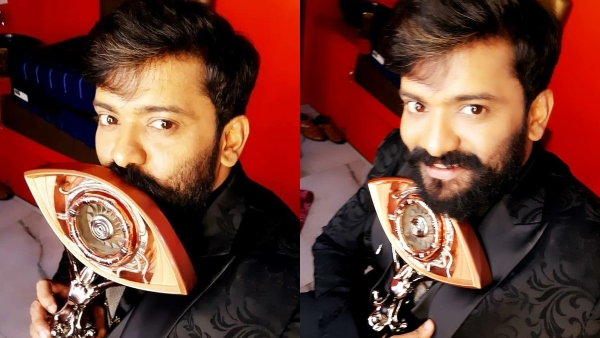 Manikuttan Wins Bigg Boss Malayalam 3 Title; The Actors Selfies With The Trophy Set Social Media On Fire!