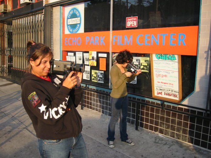 Super 8 students in front of Echo Park Film Center