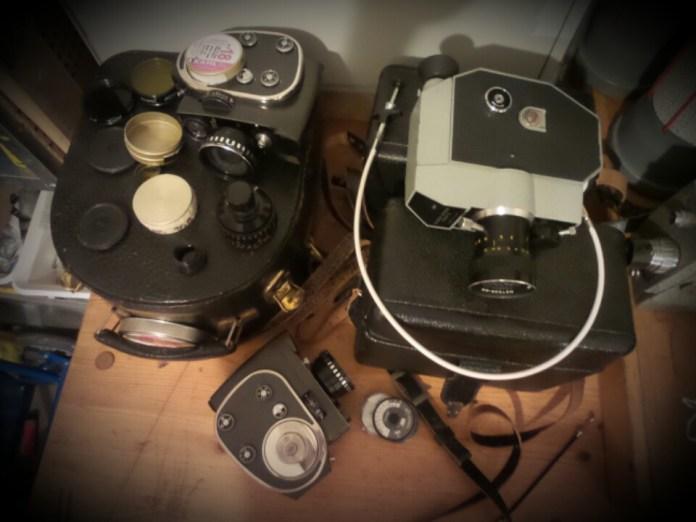 Russische Doppel-Super-8-Kameras mit Federwerks-Mechanik