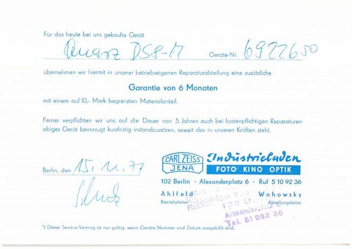 Original-Garantiezettel zu einer meiner Quarz DS8-M