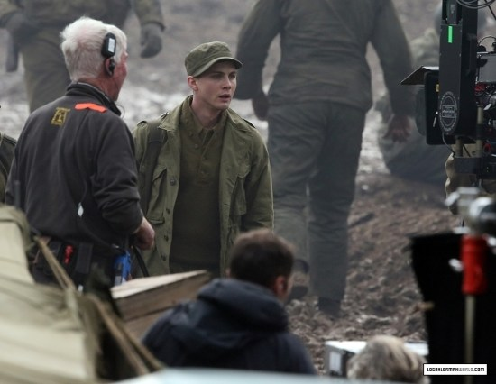 EXCLUSIVE: Brad Pitt and other cast seen filming 'Fury' in the English countryside