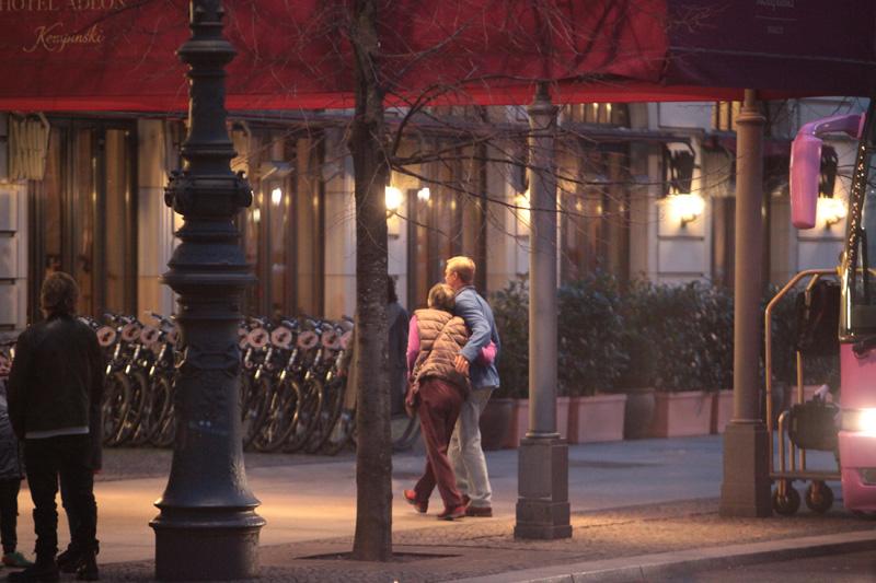 "Brad Pitt filming a scene for ""War Machine"" outside Adlon hotel in Mitte"