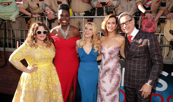 Los Angeles, CA - Saturday, July 9, 2016: Melissa McCarthy, Leslie Jones, Kate McKinnon, Kristen Wiig, and Paul Feig are seen at the Los Angeles Premiere of Columbia Pictures' ÒGhostbustersÓ at TCL Chinese Theatre on Saturday, July 9, 2016, in Los Angeles. (Photo by Eric Charbonneau/Invision for Sony/AP Images)