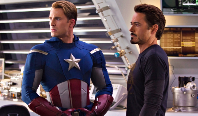 ?Marvel's The Avengers?..CAPTAIN AMERICA (L) Chris Evans and TONY STARK (Robert Downey, Jr.) (R)..Ph: Zade Rosenthal ..© 2011 MVLFFLLC. TM & © 2011 Marvel. All Rights Reserved.