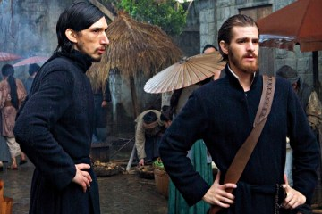 (L-R) Adam Driver as Father Garupe and Andrew Garfield as Father Sebastião Rodrigues the film SILENCE by Paramount Pictures, SharpSword Films, and AI Films