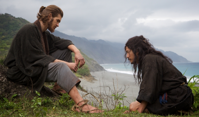 L-R: Andrew Garfield plays Father Rodrigues and Yosuke Kubozuka plays Kichijiro in the film SILENCE by Paramount Pictures, SharpSword Films, and AI Films
