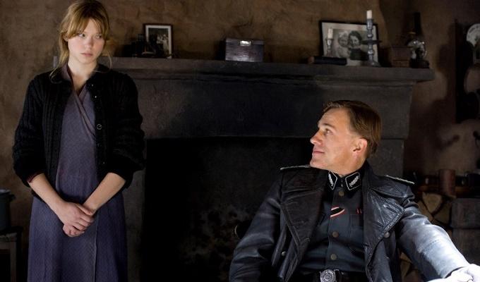 Lea Seydoux (Charlotte Lapadite) and Christoph Waltz (Colonel Landa) star in Quentin Tarantino's INGLOURIOUS BASTERDS.