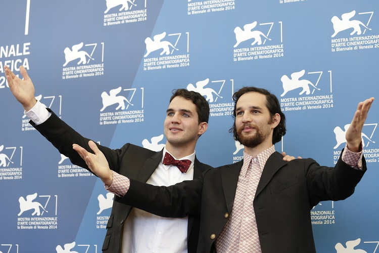 Directors Ben Safdie, left, and Joshua Safdie pose for photographers during a photo call for the movie Heaven Knows What at the 71st edition of the Venice Film Festival in Venice, Italy, Friday, Aug. 29, 2014. (AP Photo/David Azia)