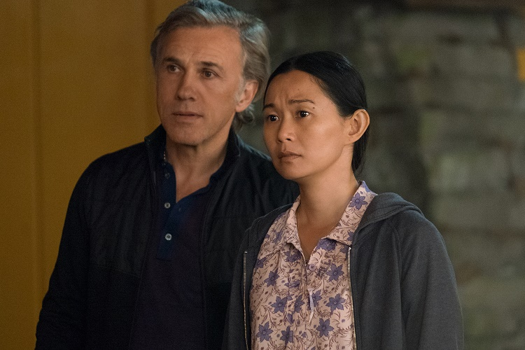 Hong Chau plays Ngoc Lan Tran and Christoph Waltz plays Dusan Mirkovic in Downsizing from Paramount Pictures.