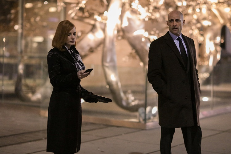 """M120 (Left to right.) Jessica Chastain and Mark Strong star in EuropaCorp's """"Miss Sloane"""". Photo Credit: Kerry Hayes © 2016 EuropaCorp Ð France 2 Cinema"""