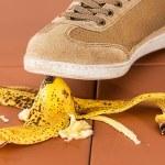 banana skin under shoes