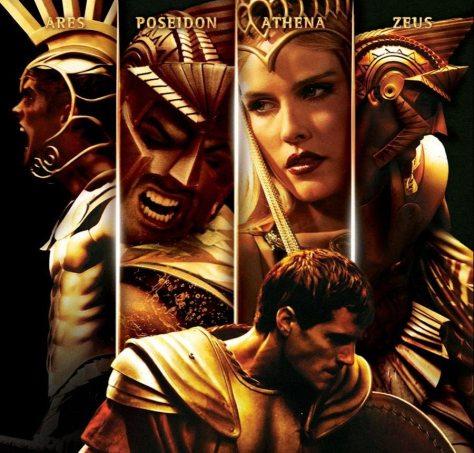 Immortals karakterposters 5 in 1 met Henry Cavill als Theseus, Luke Evans als Zeus, Isabel Lucas als Athene, Daniel Sharman als Ares en Kellan Lutz als Poseidon