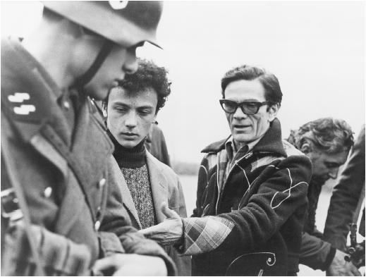 Pier Paolo Pasolini on the set of Salo