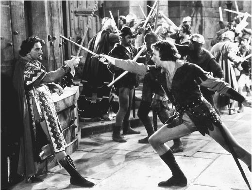 Rathbone y Errol Flynn en Robín de los Bosques