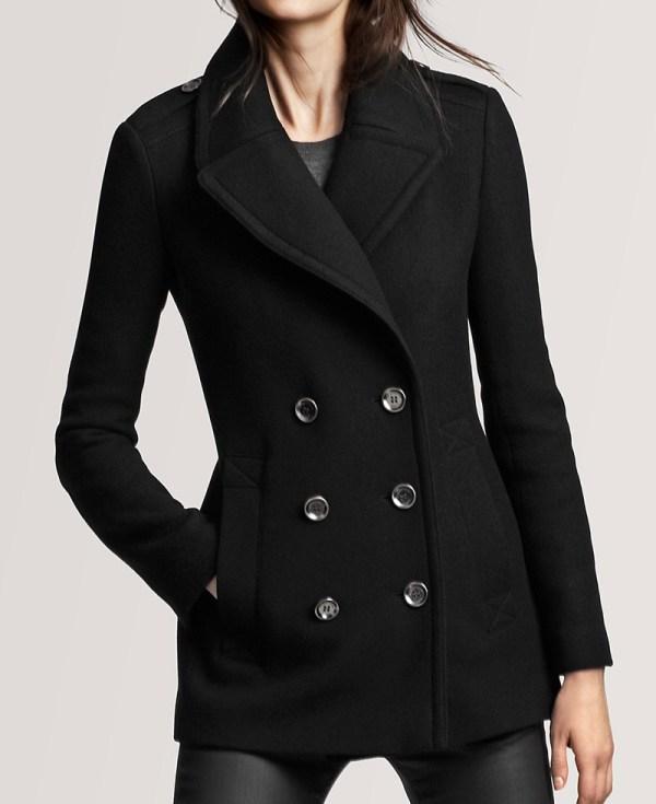 Wool Fabric Womens Black Peacoat - Films Jackets
