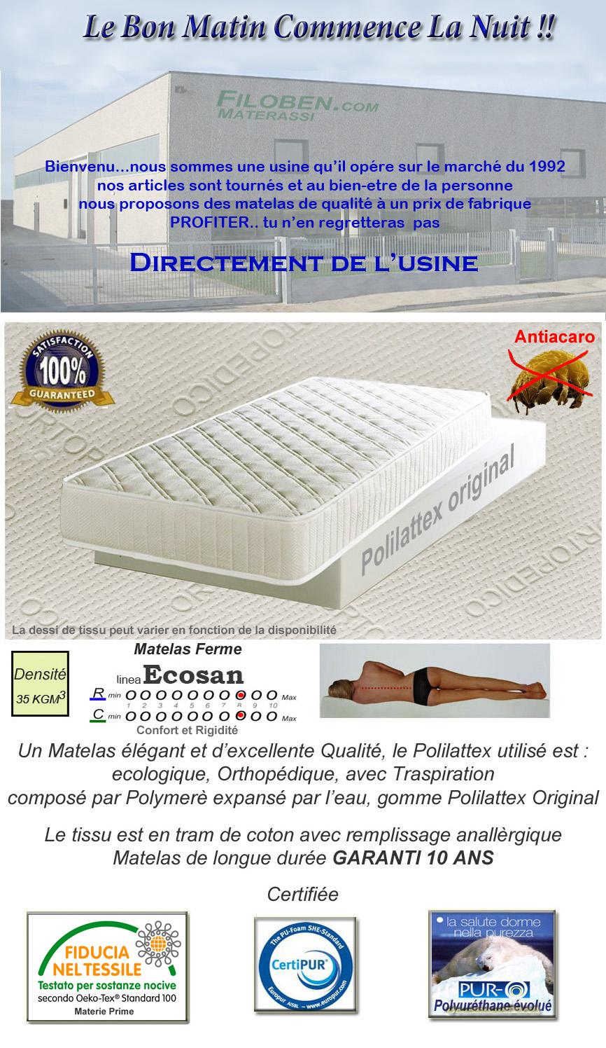 Matelas 180 x 200 Orthopdique Hipoallergnique Polilattex