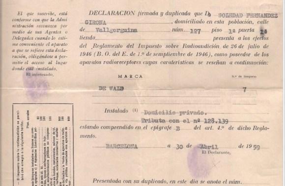 Documento 1.- 1959 Impuesto Radioaudición