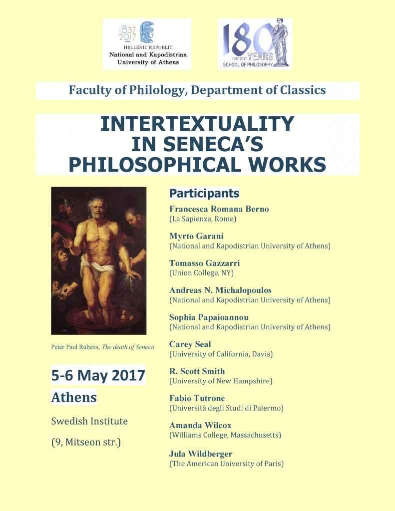 Συνέδριο: Intertextuality in Seneca's Philosophical Works (5-6/5/17)