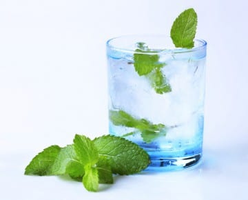 Glass of iced drink with fresh mint