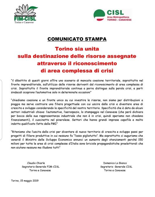 COMUNICATO STAMPA – CHIEDIAMO COESIONE E UN FRONTE UNICO SU CUI INVESTIRE LE RISORSE