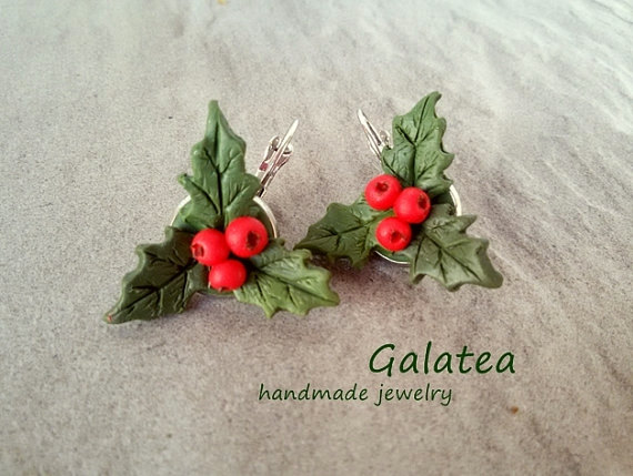Polymer Clay Red Berry Jewelry For Christmas