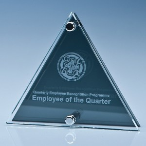 15cm x 17.5cm x 6mm Clear & Smoked Glass Triangle Plaque