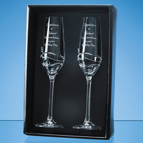 2 Diamante Champagne Flutes with Modena Spiral Cutting in an attractive Gift Box