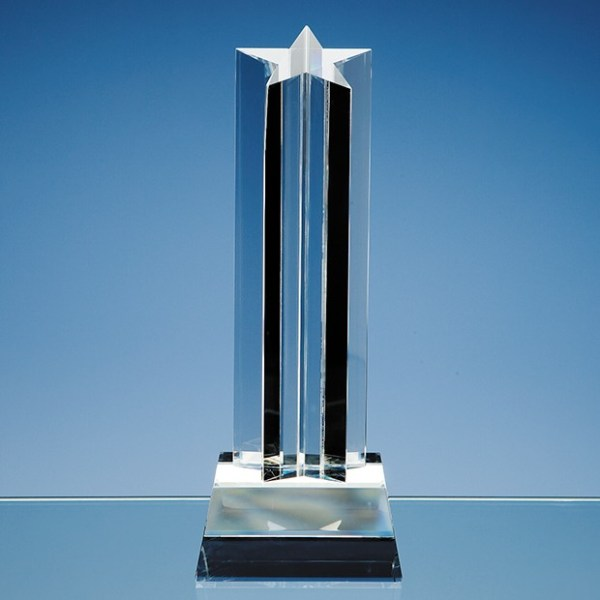 24cm Optical Crystal 5 Pointed Star Column Award
